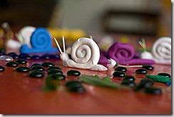 escargots en pâte à modeler